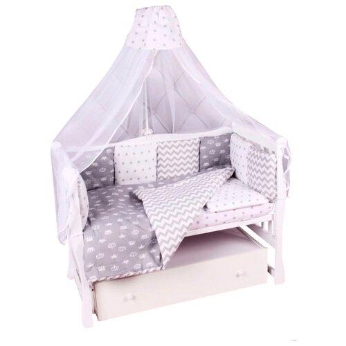 цена Amarobaby комплект в кроватку Royal baby (7 предметов) серый онлайн в 2017 году