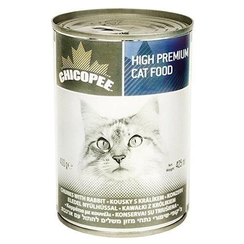 Корм для кошек Chicopee 1 шт. Консервы для кошек: мясные кусочки с кроликом 0.4 кг