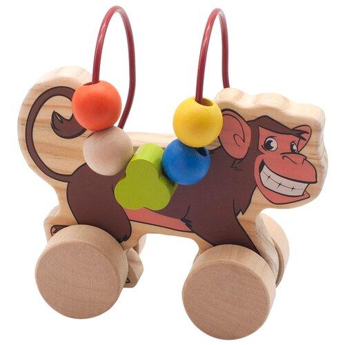 цена на Каталка-игрушка Мир деревянных игрушек Обезьяна (Д357) бежевый/коричневый
