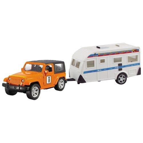 Купить Внедорожник Autotime (Autogrand) USA Allroad 4WD с домом на колесах Техпомощь (49532) 1:36 белый/горчичный, Машинки и техника
