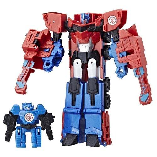 Купить Трансформер Hasbro Transformers Оптимус Прайм и Хай-Тест. Гирхэд-Комбайнер (Роботы под прикрытием) C2348 красный/синий, Роботы и трансформеры