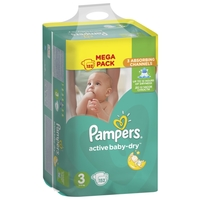 Pampers подгузники Active Baby-Dry 3 (5-9 кг) 152 шт.