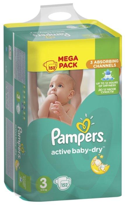 a48ec690e9c8 Купить Pampers подгузники Active Baby-Dry 3 (5-9 кг) 152 шт. в ...