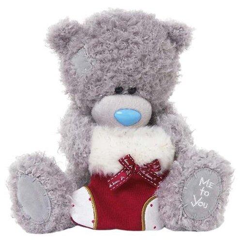Мягкая игрушка Me to you Мишка Тедди с рождественским носком 18 см
