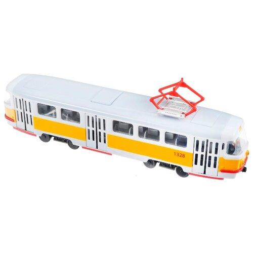Трамвай ТЕХНОПАРК X600-H36002-R 30 см белый/желтый легковой автомобиль технопарк электокар x600 h09225 r 10 см черный белый