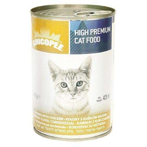 Корм для кошек Chicopee 1 шт. Консервы для кошек: мясные кусочки с курицей 0.4 кг