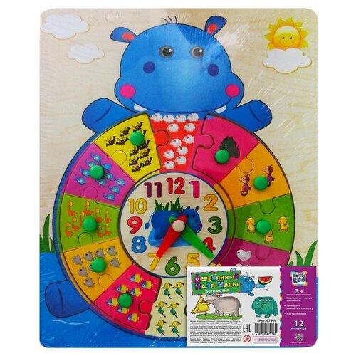 Купить Рамка-вкладыш Kribly Boo Часы Бегемотик (67916), 12 дет., Пазлы