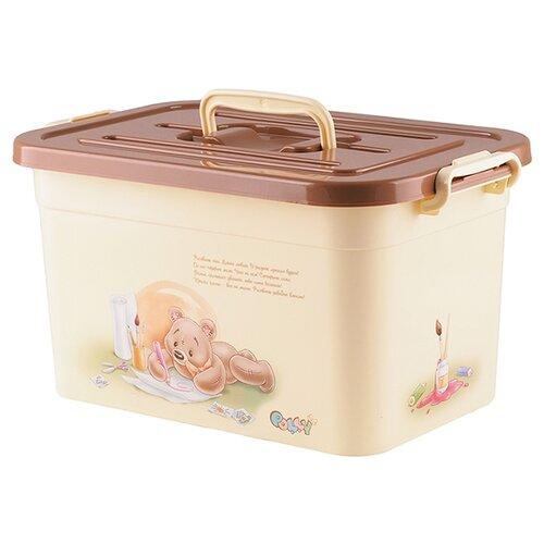Контейнер ПОЛИМЕРБЫТ Polly 6.5 л 31х20х18 см бежевый контейнер для детской аптечки полимербыт polly с вкладышем 6 5 л