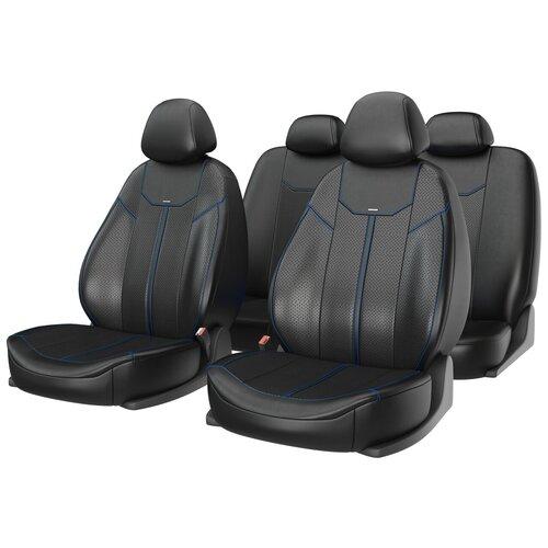 Универсальные чехлы на автомобильные сиденья CarFashion MUSTANG черный/черный/синий