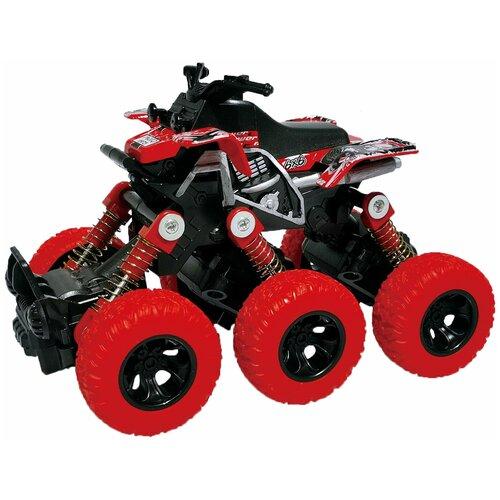 Квадроцикл die-cast, инерционный механизм, рессоры, 6*6, красный 36/72 Funky toys FT61067