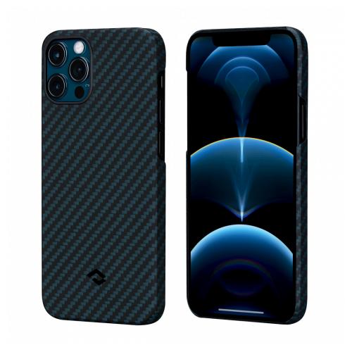 """Чехол Pitaka MagEZ Case для iPhone 12/12 Pro 6.1"""" черно-синий кевлар (арамид)"""