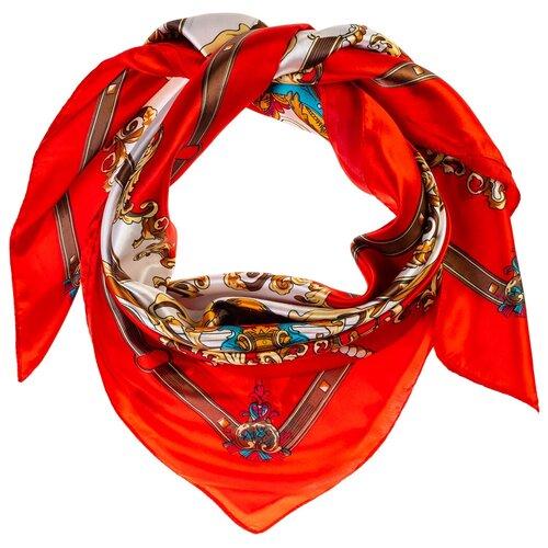 Шелковый платок на шею/Платок шелковый на голову/женский/Шейный шелковый платок/стильный/модный /21kdgPL903022-2vr красный, коричневый/Vittorio Richi/80% шелк,20% полиэстер/90x90