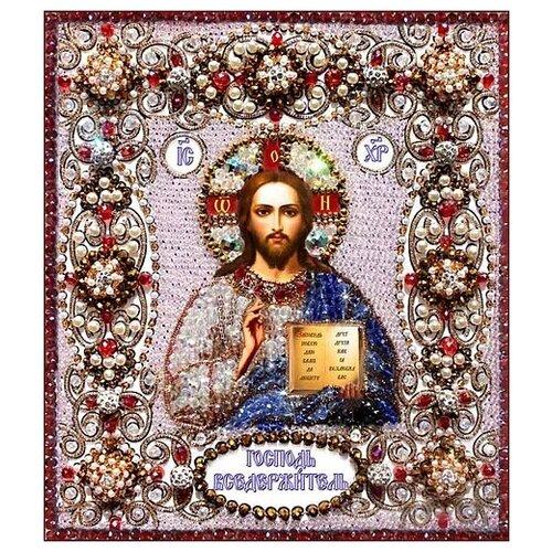 Купить Набор для вышивания хрустальными бусинами и настоящими камнями, Образа в каменьях, Господь Вседержитель , Наборы для вышивания