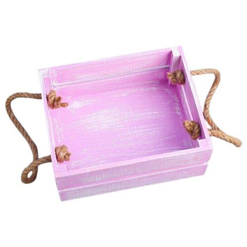 Кашпо Дарим красиво Щедрость с ручкой-верёвкой 20 х 8 х 16 см фиолетовая кисть по цене 456