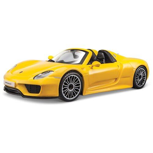 Купить Легковой автомобиль Bburago Porsche 918 Spyder (18-21076) 1:24, 13.7 см, желтый, Машинки и техника