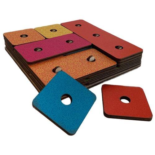 Развивающая игрушка PAREMO Геоборд Волшебный квадрат, красный/синий/желтый/оранжевый