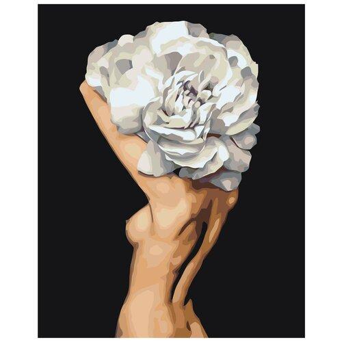 Цветочная голова обнаженной девушки Раскраска картина по номерам на холсте Z-AB716 40х50