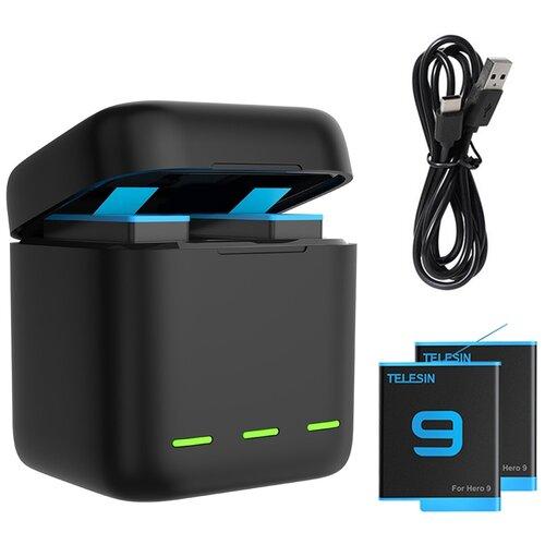 Фото - Зарядное устройство + 2 АКБ для GoPro Hero 9 Black Telesin зарядное устройство lumiix gp402 9 for gopro hero 9