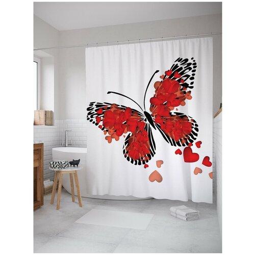 Фото - Штора для ванной JoyArty Бабочка любви 180х200 (sc-2710) штора для ванной joyarty прыгучая бабочка 180х200 sc 16368