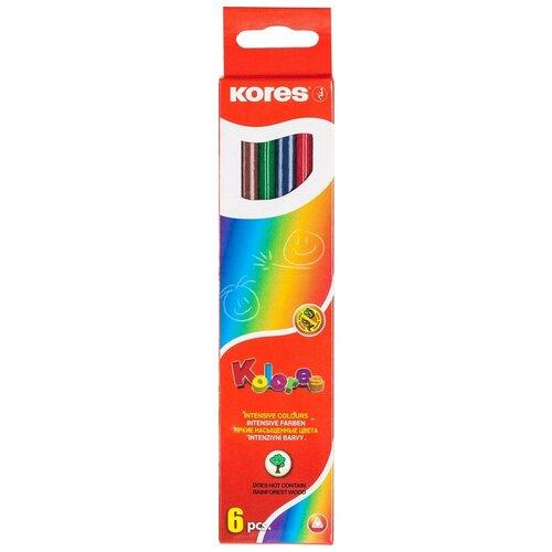 Купить Карандаши цветные 6цв 6-гран Kores 96306.01 2 штуки, Цветные карандаши