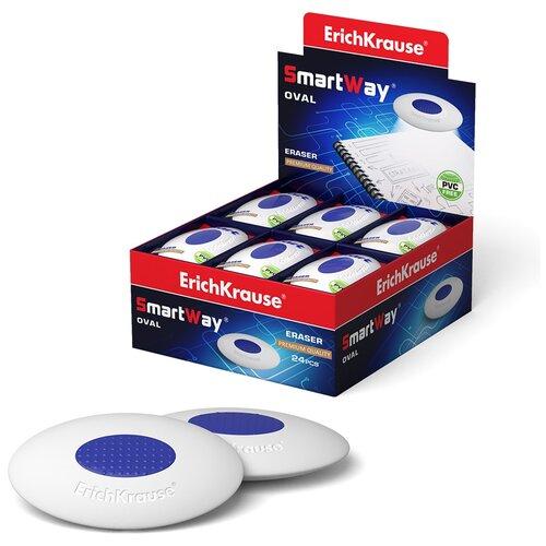 Купить Ластик с пластиковым держателем ErichKrause Smart Oval (в пакете с европодвесом) (в коробке по 24 шт.), Ластики