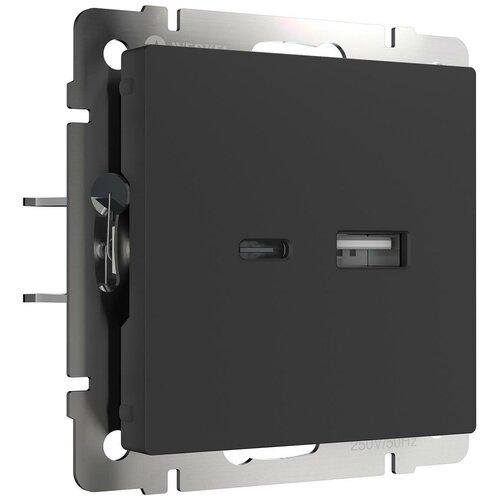 Розетка USB Werkel тип A+С черный матовый W1171808 4690389171390