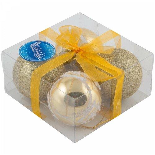 Набор елочных шаров Волшебная страна PB6-4TDG, золотой, 6 см, 4 шт.