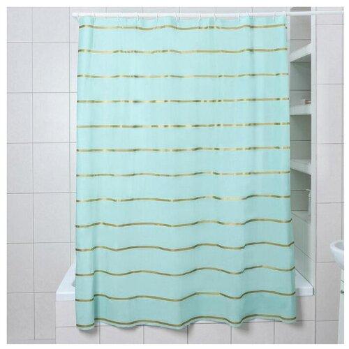 Штора для ванной Доляна Лайн 180x180 голубой штора для ванной доляна малевич 180x180 малевич