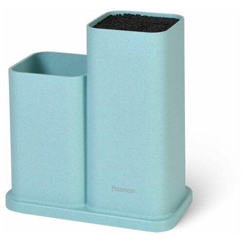 Подставка Fissman с двумя отделениями 10x10x23+10x10х17 см, цвет ТИФФАНИ (пластик) (2873) подставка для кухонных ножей fissman 10x10x23 см