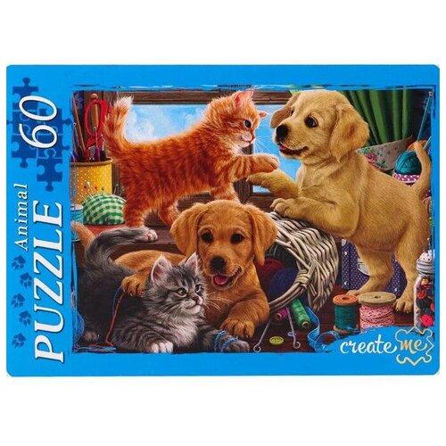 Фото - Пазл Рыжий кот Щенки и котята 60 элементов пазл рыжий кот забавные щенки пу24 0611