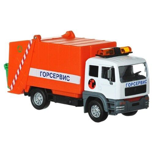 Купить Мусоровоз ТЕХНОПАРК Горсервис (CT-1223G) 1:43, 14.5 см, красный, Машинки и техника