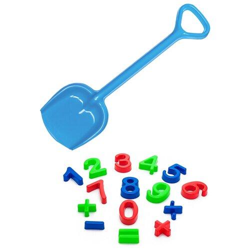 Купить Детский игровой набор для песочницы: Арифметика + Лопатка 50 см синяя, КАРОЛИНА ТОЙЗ, Karolina toys, Наборы в песочницу