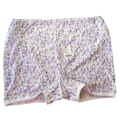 Русский стиль Трусы Панталоны короткие высокой посадки, размер 60, белый/цветочный принт