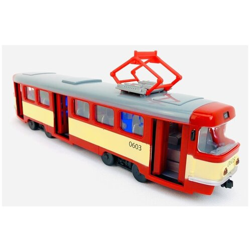 Купить Трамвай инерционный со светящимися фарами, объявляет остановки, открываются двери, машина автопарк Play Smart 9708D, 28х10х6 см, 1:54, Машинки и техника