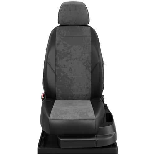 Авточехлы для ВАЗ 2114-2115 с 1997-2012г. седан Задние спинка и сиденье единые, 4 подголовника, (все 4 подголовника одинакового размера). (Лада 2114-2115). ЭК-13 сер.алькантара/чёрный