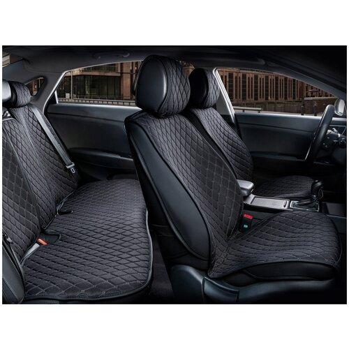 Комплект накидок на автомобильные сиденья CarFashion CROWN черный/черный/черный