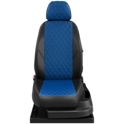 Авточехлы для Volkswagen Crafter с 2006-2017 фургон Передние 3 места, 3 подголовника. Пассажирское кресло сдвоенное кресло со столиком (Фольксваген Крафтер). ЭК-05 синий/чёрный РОМБ: Синий