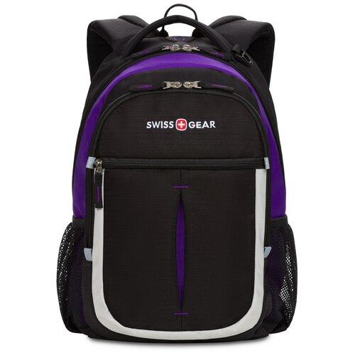Фото - Рюкзак SWISSGEAR, чёрный/фиолетовый/серебристый, полиэстер 600D, 32х15х45 см, 22 л рюкзак swissgear 32x15x46 см 22 л черный