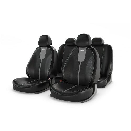 Универсальные чехлы на автомобильные сиденья CarFashion GALS серый/черный/серый
