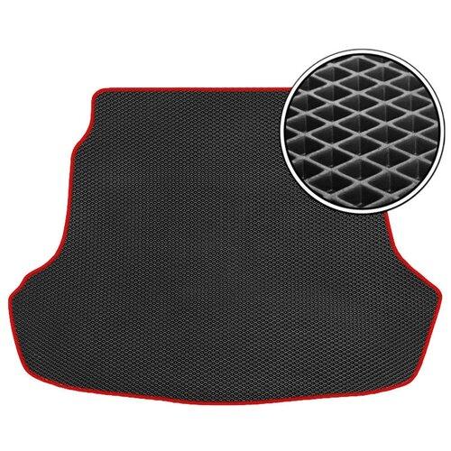 Автомобильный коврик в багажник ЕВА Toyota Highlander II (U40) 2007 - 2013 (багажник) (красный кант) ViceCar