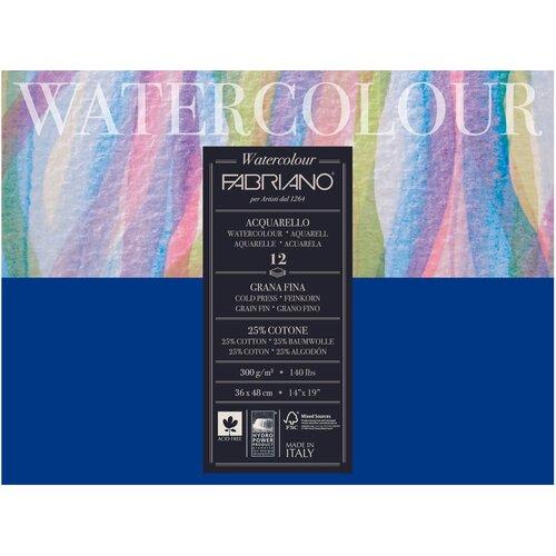 Фото - Альбом для акварели Fabriano Watercolour 48 х 36 см, 300 г/м², 12 л. альбом для акварели fabriano watercolour 300 г м2 а6 10 5 х 14 8 см склейка с одной стороны 20 л