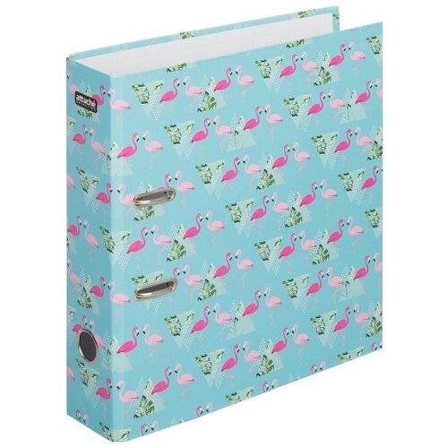 Купить Attache SELECTION Папка-регистратор Flamingo А4, ламинированный картон, 75 мм голубой с рисунком, Файлы и папки