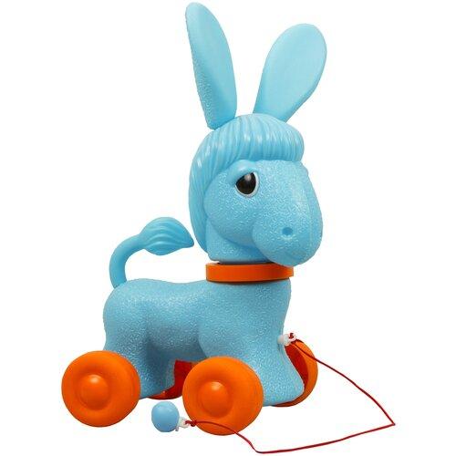 Купить Каталка-игрушка ОГОНЁК Ослик голубой/оранжевый, Каталки и качалки
