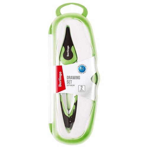 Купить Berlingo Готовальня Optimum 2 предмета (DS_00102) зеленый, Чертежные инструменты