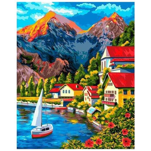 Купить Картина по номерам по дереву «Городок в горах», 40x50 см, ФРЕЯ, Картины по номерам и контурам