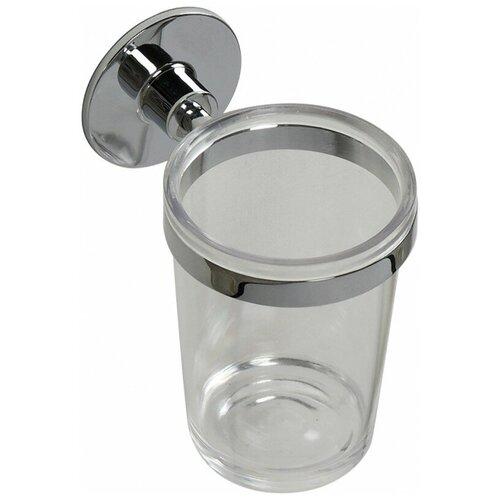 Стакан для зубных щеток Fixsen Round FX-92106, хром/прозрачный мыльница fixsen round fx 92108 хром прозрачный
