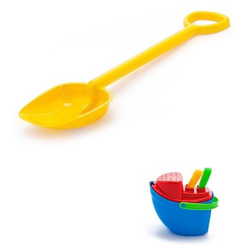 Купить Детский игровой набор для песочницы: Песочный набор Пароходик 40-0040 + Лопатка 50 см желтая, КАРОЛИНА ТОЙЗ, Karolina toys, Наборы в песочницу