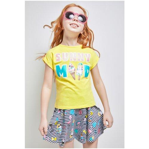Купить Футболка для девочек размер 122, желтый, ТМ Acoola, арт. 20220110300, Футболки и майки