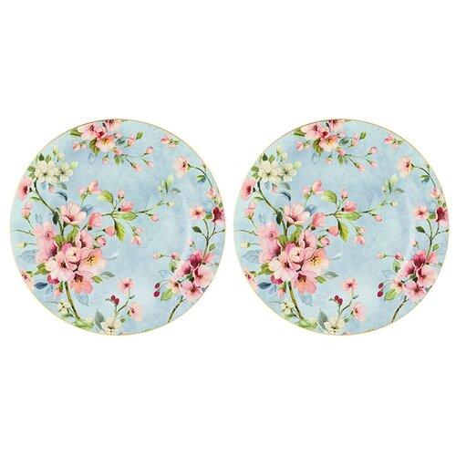 Elan gallery Набор обеденных тарелок Яблоневый цвет на голубом 26 см, 2 шт голубой недорого