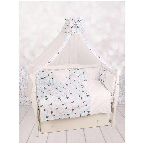 Amarobaby комплект в кроватку Exclusive Soft Collection Треугольники (7 предметов) белый/голубой/серый amarobaby комплект в кроватку exclusive soft collection папоротники 7 предметов белый зеленый